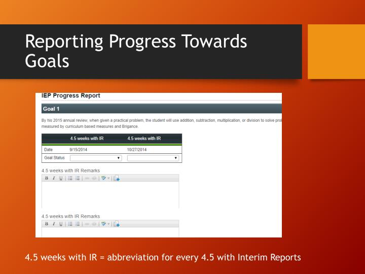 Reporting Progress Towards