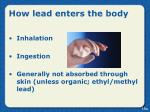 how lead enters the body