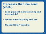 processes that use lead cont