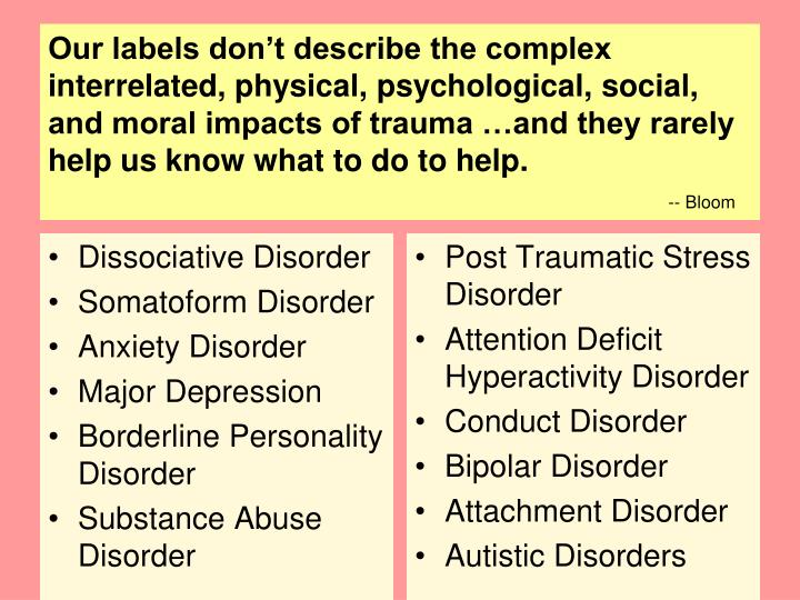 Our labels don't describe the complex interrelated, physical, psychological, social, and moral impacts of trauma …and they rarely help us know what to do to help.