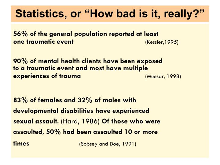 Statistics or how bad is it really
