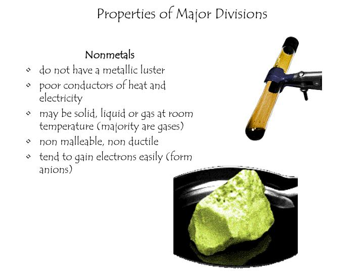 Properties of Major Divisions