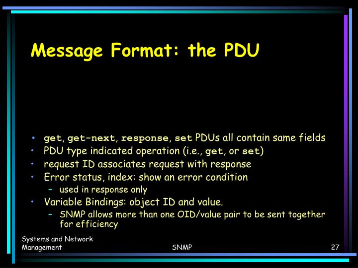 Message Format: the PDU