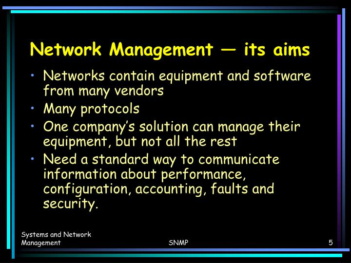 Network Management — its aims