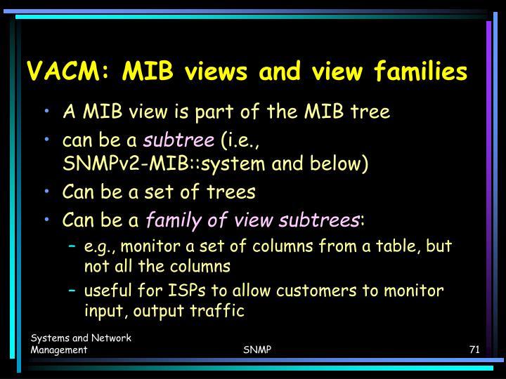 VACM: MIB views and view families