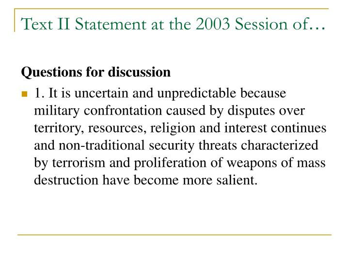 Text II Statement at the 2003 Session of