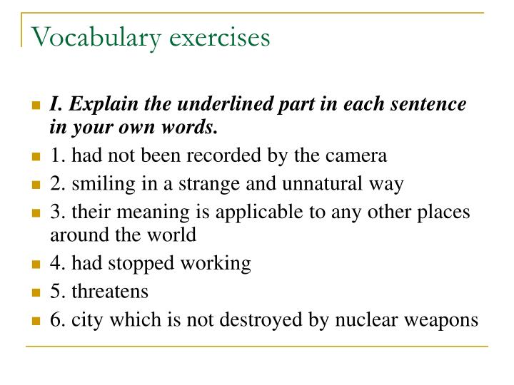 Vocabulary exercises