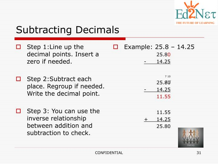 Step 1:Line up the decimal points. Insert a zero if needed.