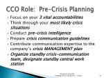 cco role pre crisis planning
