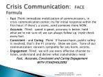 crisis communication face formula