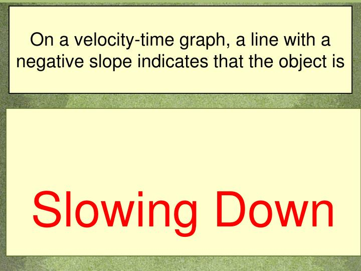 On a velocity-time graph, a line with a negative slope indicates that the object is