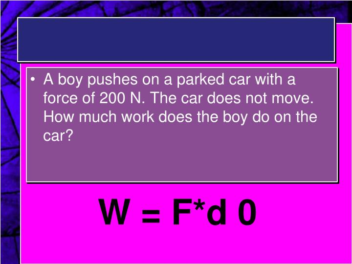 A boy pushes on a parked car with a force of 200 N. The car does not move. How much work does the boy do on the car?