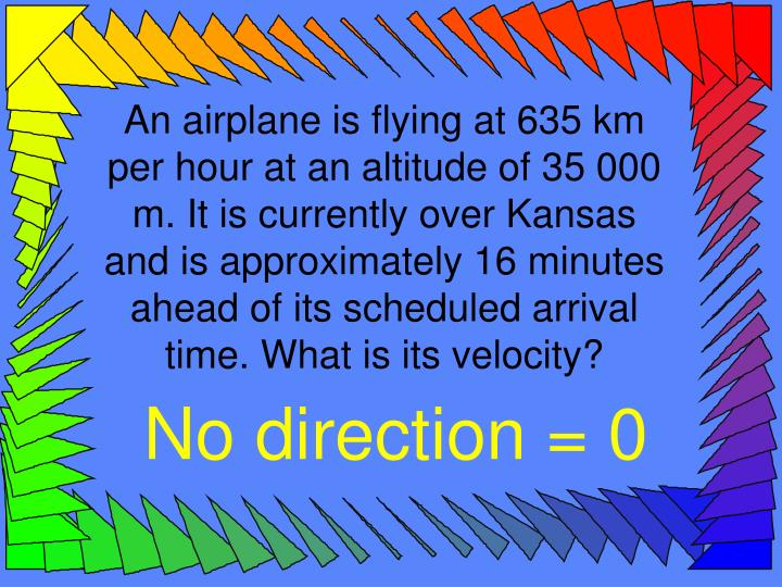 An airplane is flying at 635 km per hour at an altitude of 35 000 m. It is currently over Kansas and is approximately 16 minutes ahead of its scheduled arrival time. What is its velocity?