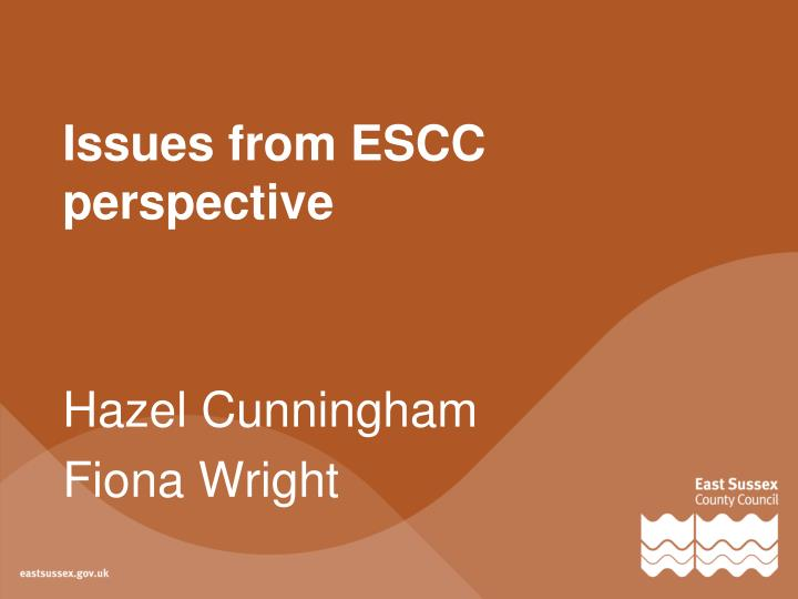 Issues from ESCC perspective