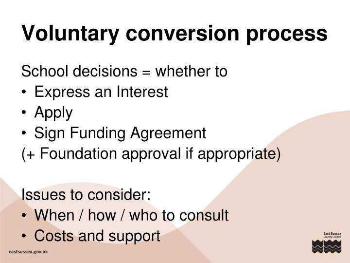 Voluntary conversion process