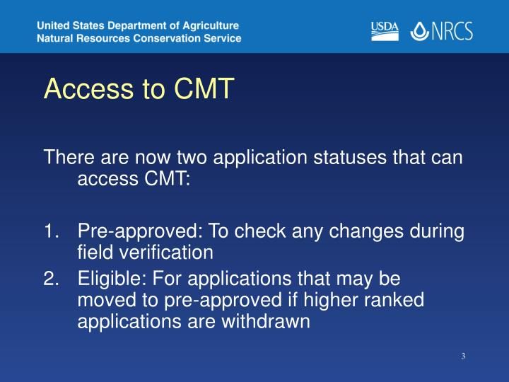 Access to cmt