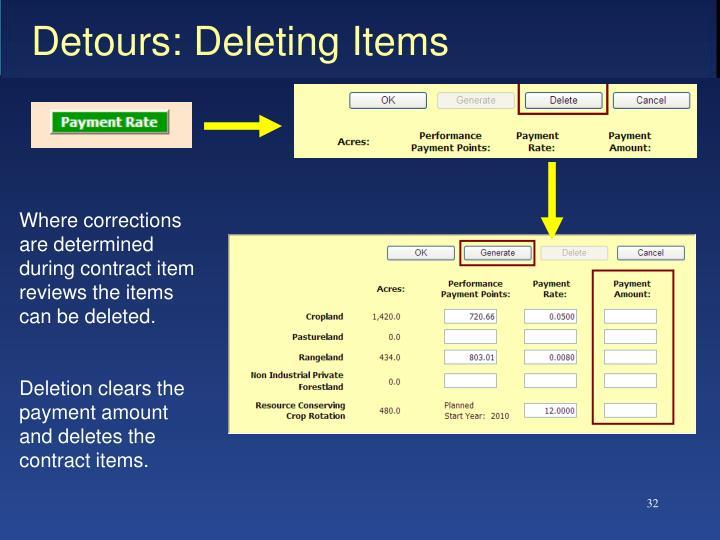 Detours: Deleting Items