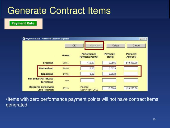 Generate Contract Items