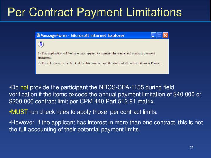 Per Contract Payment Limitations
