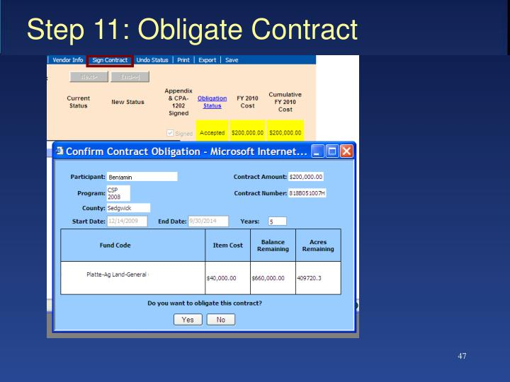 Step 11: Obligate Contract