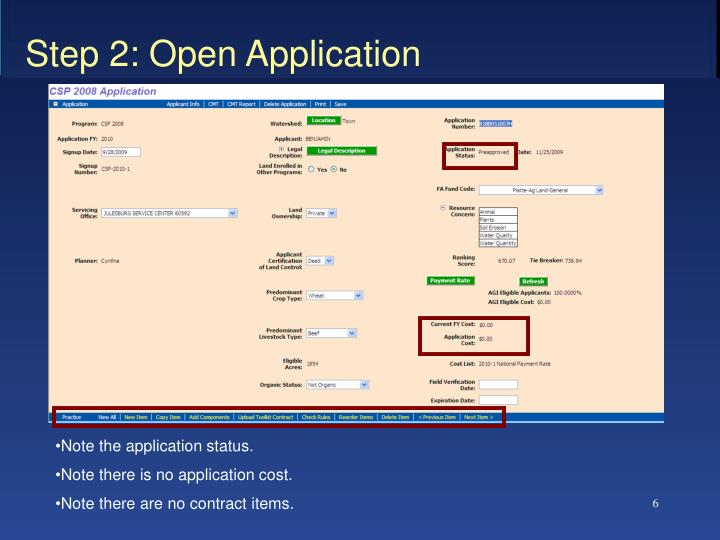 Step 2: Open Application