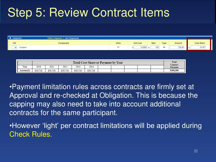 Step 5: Review Contract Items