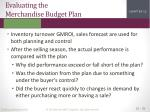 evaluating the merchandise budget plan