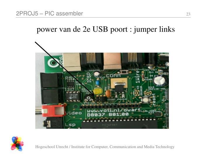 power van de 2e USB poort : jumper links