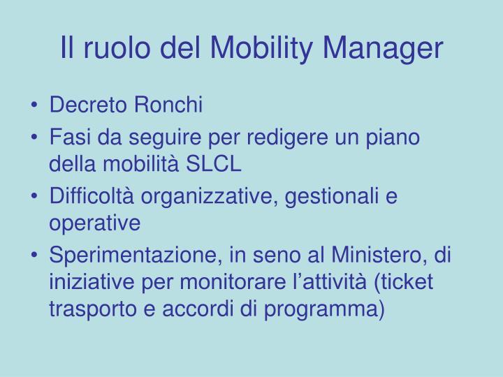 Il ruolo del Mobility Manager