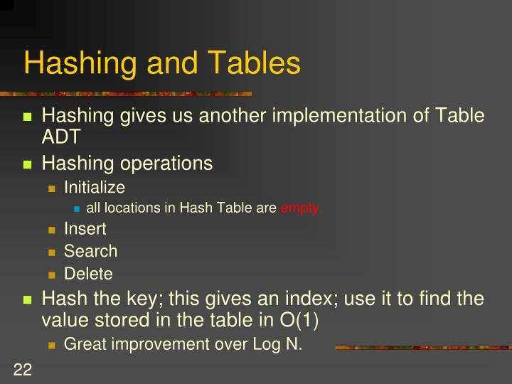 Hashing and Tables
