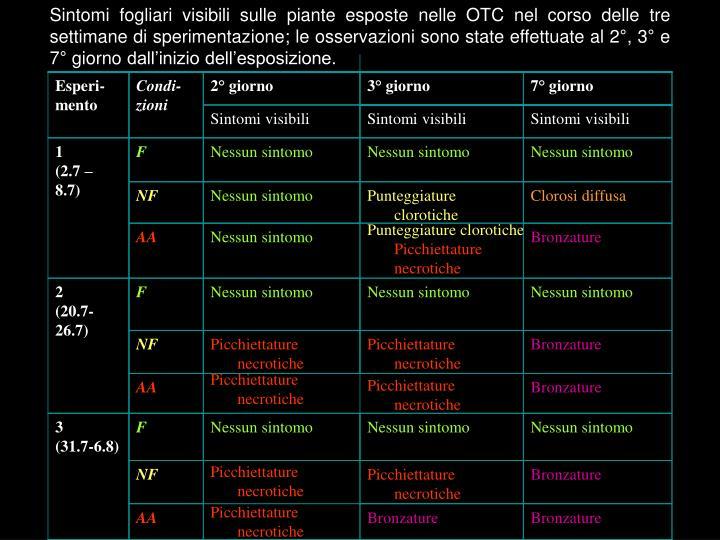 Sintomi fogliari visibili sulle piante esposte nelle OTC nel corso delle tre settimane di sperimentazione; le osservazioni sono state effettuate al 2°, 3° e 7° giorno dall'inizio dell'esposizione.