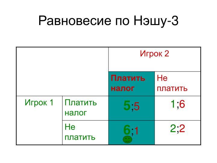 Равновесие по Нэшу-3