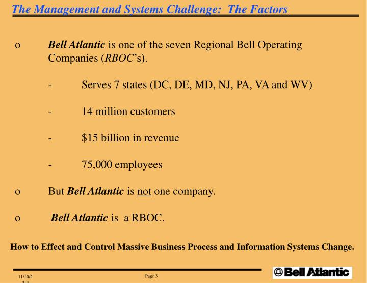 The Management and Systems Challenge:  The Factors