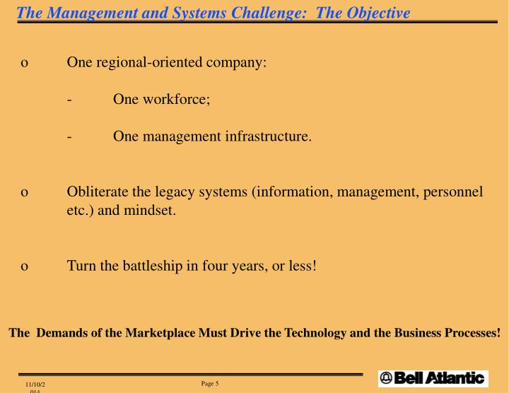 The Management and Systems Challenge:  The Objective