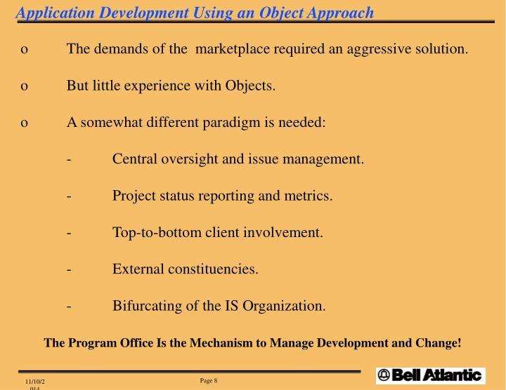Application Development Using an Object Approach