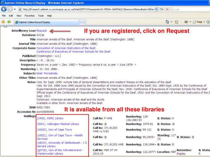 If you are registered, click on Request