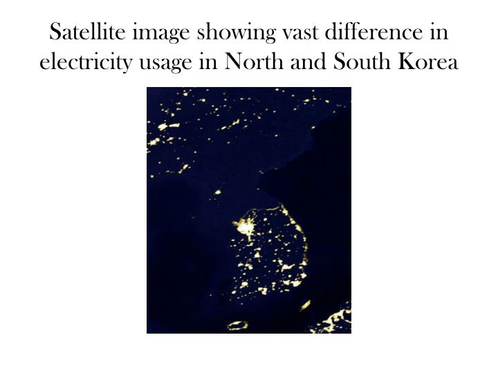 Satellite image showing vast difference in electricity usage in North and South Korea