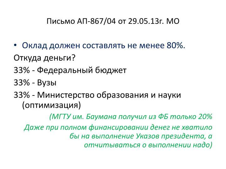 Письмо АП-867/04 от 29.05.13г. МО