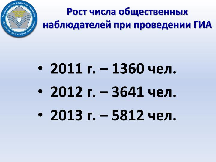 Рост числа общественных наблюдателей при проведении ГИА