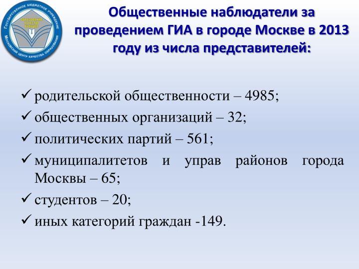 Общественные наблюдатели за проведением ГИА в городе Москве в 2013 году из числа представителей: