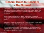 general rules to consider macdonnell