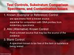 test controls substratum comparison specimens and contamination issues