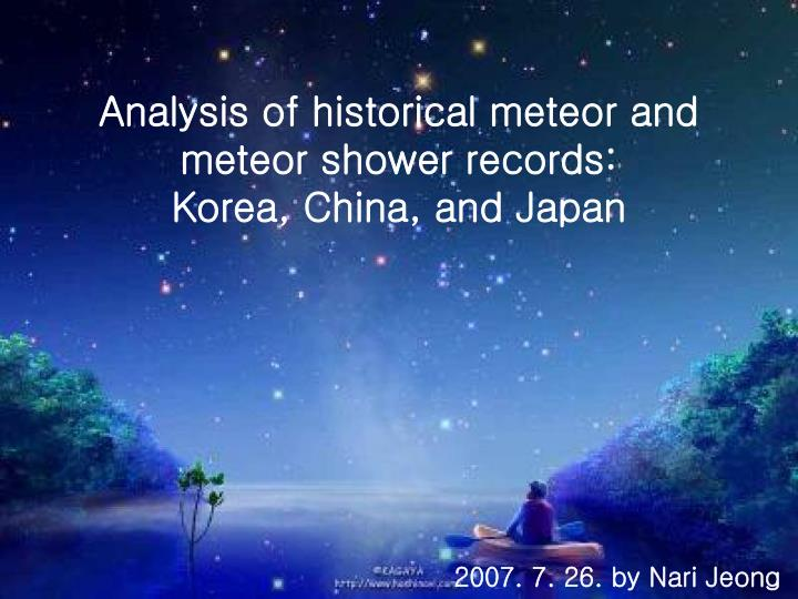 analysis of historical meteor and meteor shower records korea china and japan n.