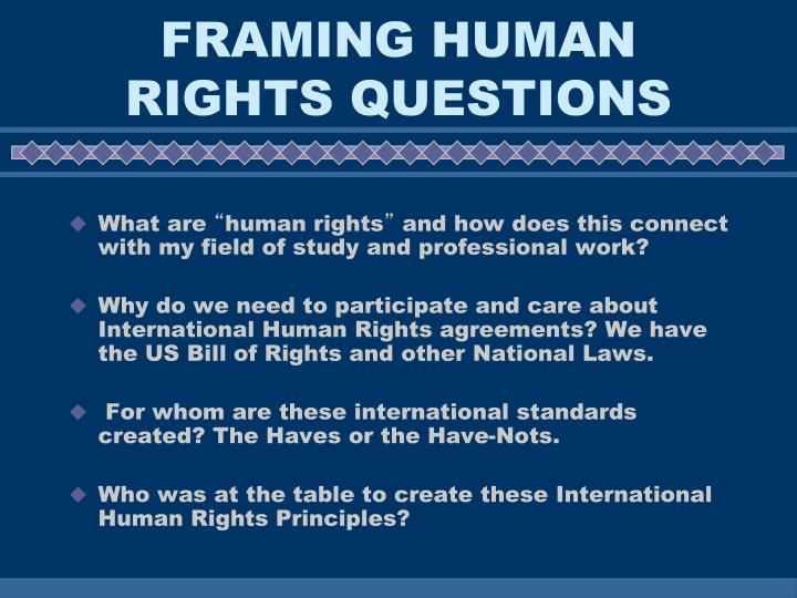 Framing human rights questions