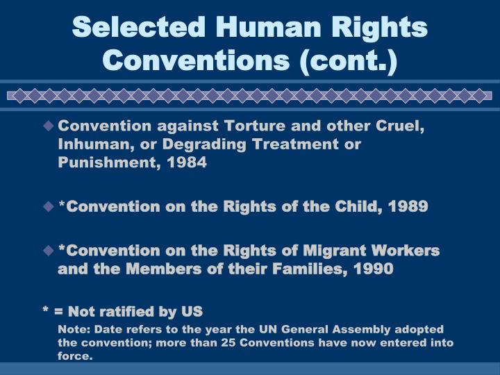 Selected Human Rights Conventions (cont.)