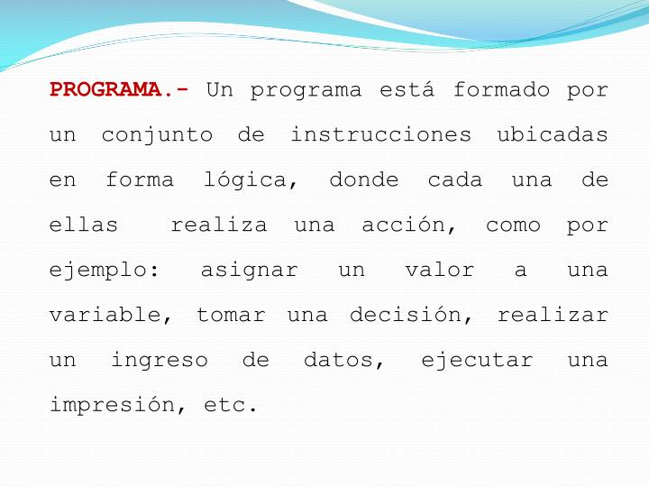 PROGRAMA.-