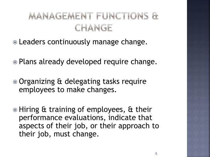 Management functions & change