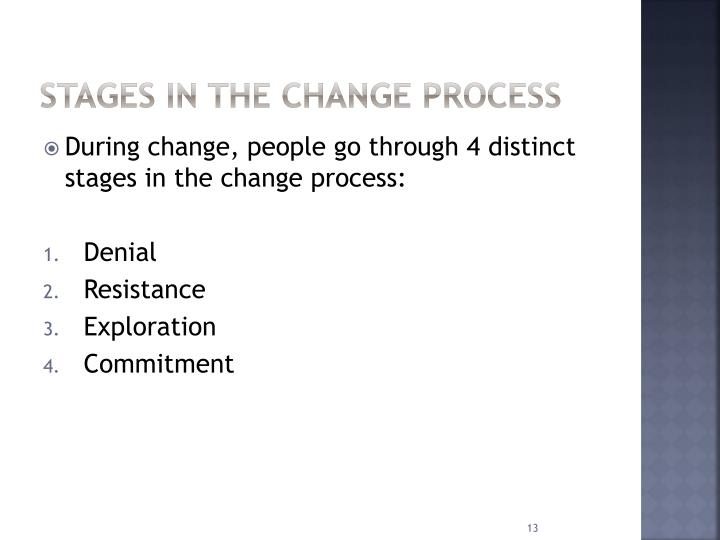 Stages in the change process