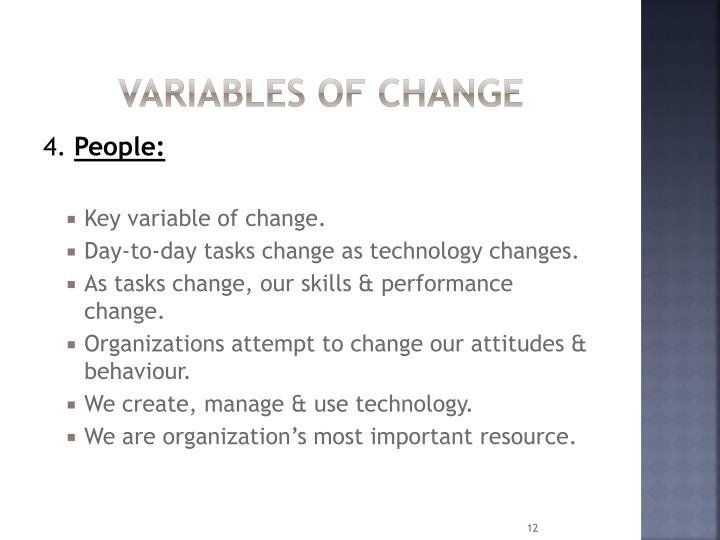 Variables of change