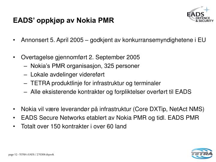 EADS' oppkjøp av Nokia PMR